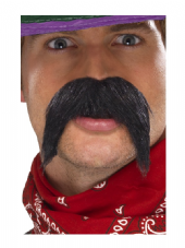 Wild West Gringo Bushy Moustache Black